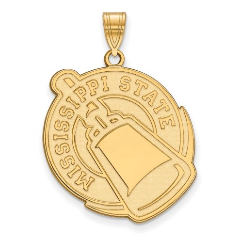 Mississippi State Bulldogs Sterling Silver Gold Plated Extra Large Pendant