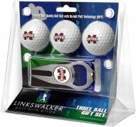 Mississippi State Bulldogs Golf Ball Gift Pack with Hat Trick Divot Tool
