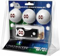 Mississippi State Bulldogs Golf Ball Gift Pack with Spring Action Divot Tool