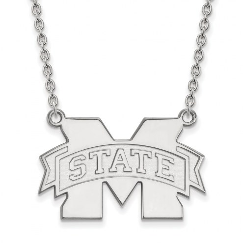 Mississippi State Bulldogs Sterling Silver Large Enameled Pendant Necklace