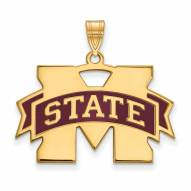 Mississippi State Bulldogs Sterling Silver Gold Plated Large Pendant