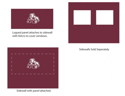 Mississippi State Bulldogs Logo Canopy Sidewall Panel (Attaches to Window Sidewall)