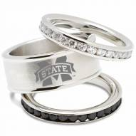 Mississippi State Bulldogs Logo Crystal Stacked Ring Set
