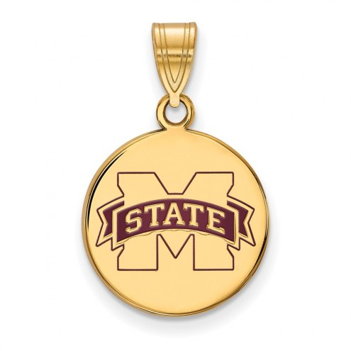 Mississippi State Bulldogs Sterling Silver Gold Plated Medium Enameled Disc Pendant