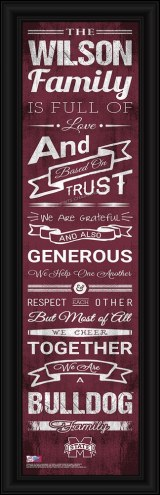 Mississippi State Bulldogs Personalized Family Cheer Framed Art