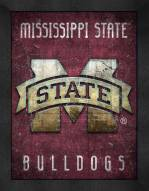 Mississippi State Bulldogs Retro Logo Map Framed Print