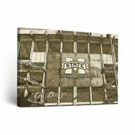 Mississippi State Bulldogs Sketch Canvas Wall Art