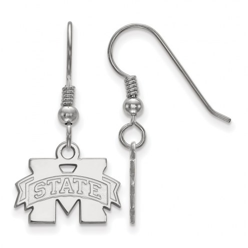 Mississippi State Bulldogs Sterling Silver Extra Small Dangle Earrings