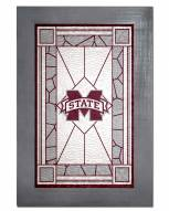 Mississippi State Bulldogs Stained Glass with Frame