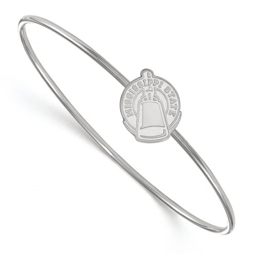 Mississippi State Bulldogs Sterling Silver Bangle Slip on Bracelet