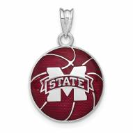 Mississippi State Bulldogs Sterling Silver Basketball Pendant