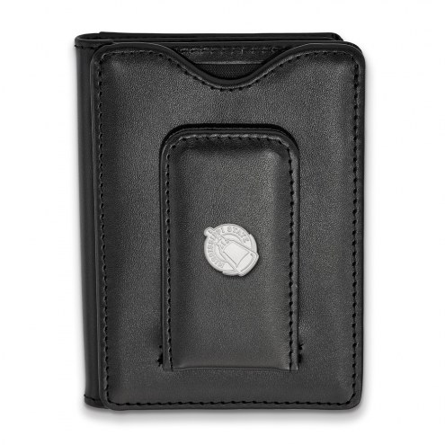 Mississippi State Bulldogs Sterling Silver Black Leather Wallet