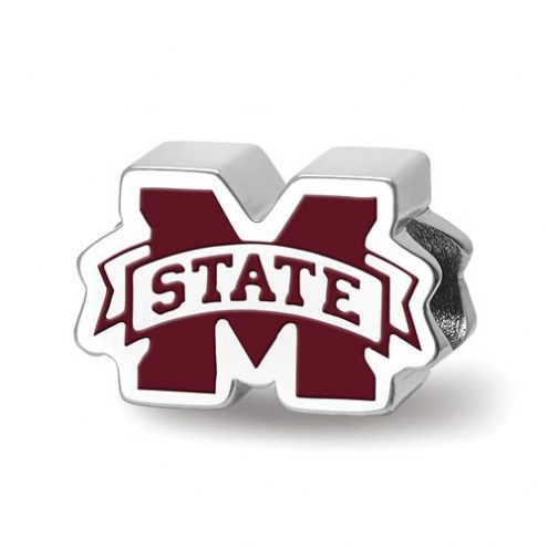 Mississippi State Bulldogs Sterling Silver Enameled Bead