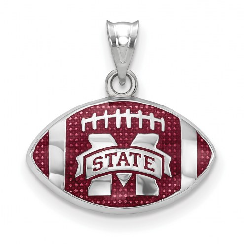 Mississippi State Bulldogs Sterling Silver Enameled Football Pendant