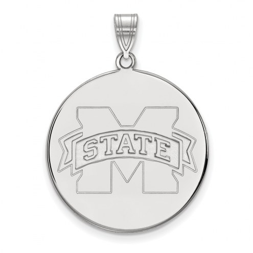 Mississippi State Bulldogs Sterling Silver Extra Large Disc Pendant