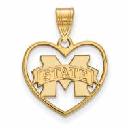 Mississippi State Bulldogs Sterling Silver Gold Plated Heart Pendant