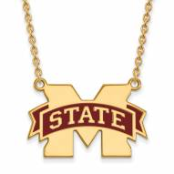 Mississippi State Bulldogs Sterling Silver Gold Plated Large Pendant Necklace