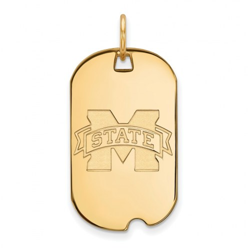 Mississippi State Bulldogs Sterling Silver Gold Plated Small Dog Tag