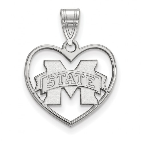 Mississippi State Bulldogs Sterling Silver Heart Pendant