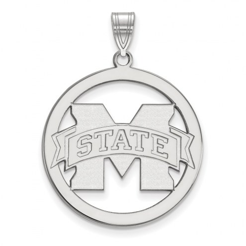 Mississippi State Bulldogs Sterling Silver Large Circle Pendant