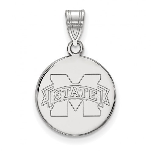 Mississippi State Bulldogs Sterling Silver Medium Disc Pendant