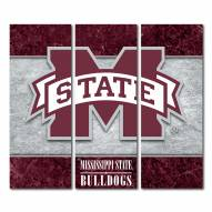 Mississippi State Bulldogs Triptych Double Border Canvas Wall Art