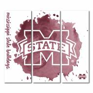 Mississippi State Bulldogs Triptych Watercolor Canvas Wall Art