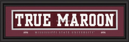 """Mississippi State Bulldogs """"True Maroon"""" Stitched Jersey Framed Print"""