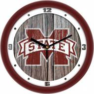 Mississippi State Bulldogs Weathered Wood Wall Clock