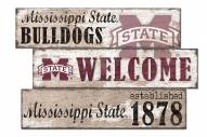Mississippi State Bulldogs Welcome 3 Plank Sign