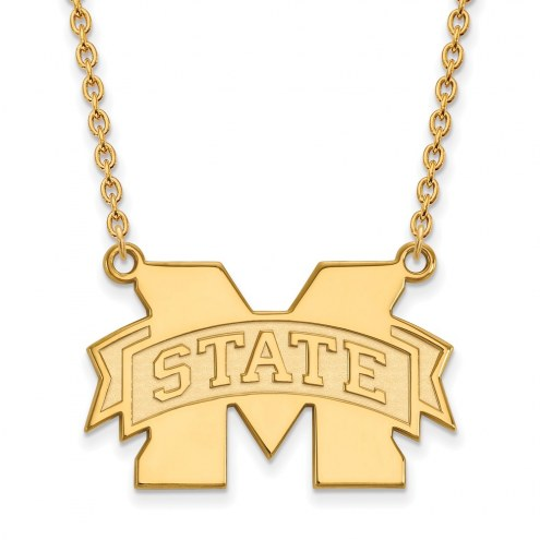 Mississippi State Bulldogs NCAA Sterling Silver Gold Plated Large Pendant Necklace