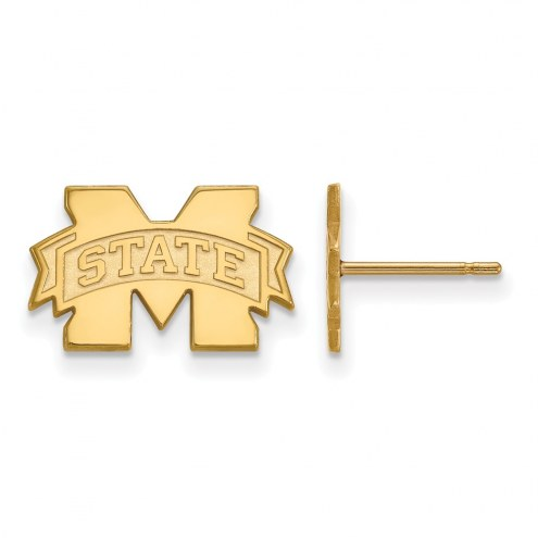 Mississippi State Bulldogs NCAA Sterling Silver Gold Plated Extra Small Post Earrings