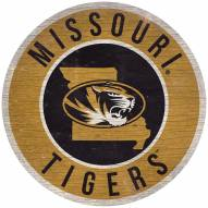 """Missouri Tigers 12"""" Circle with State Sign"""
