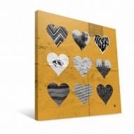 """Missouri Tigers 12"""" x 12"""" Hearts Canvas Print"""