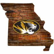 Missouri Tigers Distressed State with Logo Sign