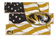 Missouri Tigers Flag 3 Plank Sign