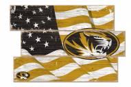 Missouri Tigers Flag 3 Plank Sign