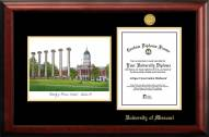 Missouri Tigers Gold Embossed Diploma Frame with Campus Images Lithograph