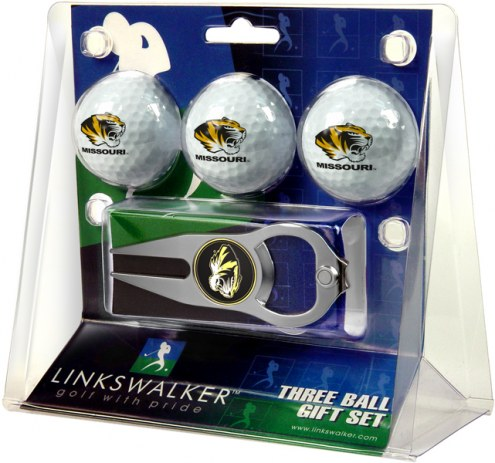 Missouri Tigers Golf Ball Gift Pack with Hat Trick Divot Tool