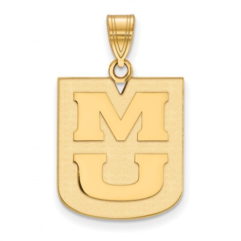 Missouri Tigers Sterling Silver Gold Plated Large Pendant