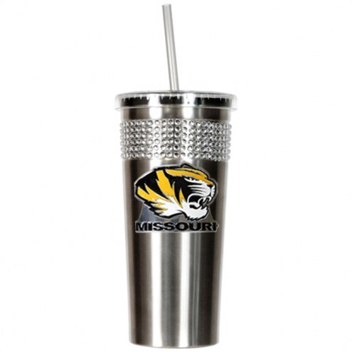 Missouri Tigers Stainless Steel Bling Tumbler with Straw