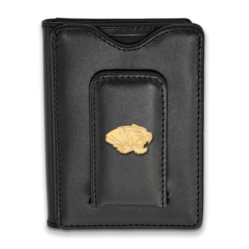 Missouri Tigers Sterling Silver Gold Plated Black Leather Wallet