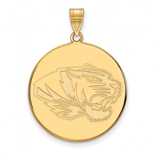 Missouri Tigers Sterling Silver Gold Plated Extra Large Disc Pendant
