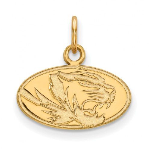 Missouri Tigers Sterling Silver Gold Plated Extra Small Pendant