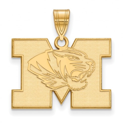 Missouri Tigers Sterling Silver Gold Plated Medium Pendant