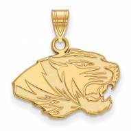 Missouri Tigers Sterling Silver Gold Plated Small Pendant