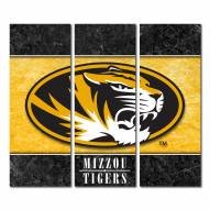 Missouri Tigers Triptych Double Border Canvas Wall Art