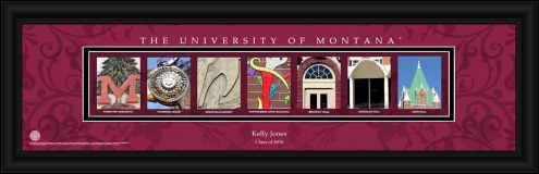 Montana Grizzlies Personalized Campus Letter Art
