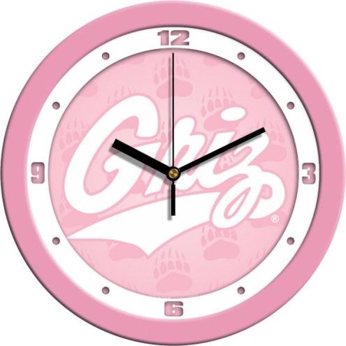 Montana Grizzlies Pink Wall Clock