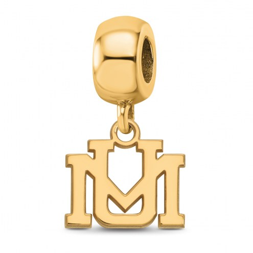 Montana Grizzlies Sterling Silver Gold Plated Extra Small Dangle Bead